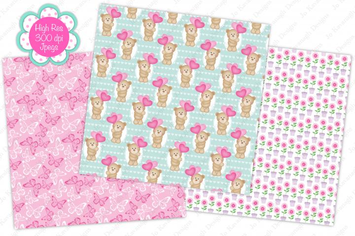 Cute bear digital papers, Cute bears, Floral, Butterfly example 2