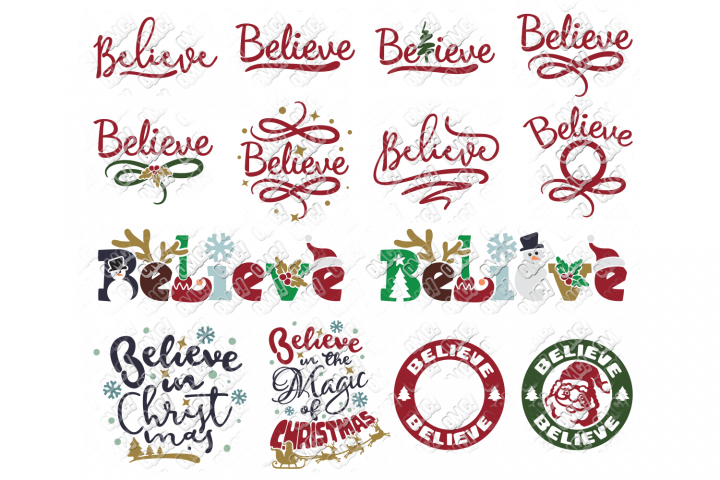 Believe SVG Christmas Bundle in SVG, DXF, PNG, EPS, JPEG