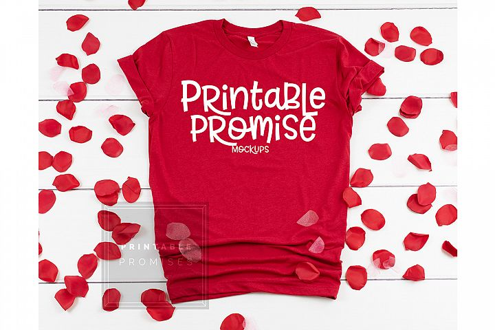 Bella Canvas 3001 Red Valentines Shirt Mockup