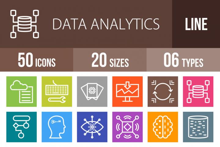 50 Data Analytics Line Multicolor B/G Icons