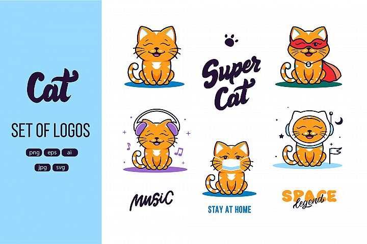 Set of logos Funny cats