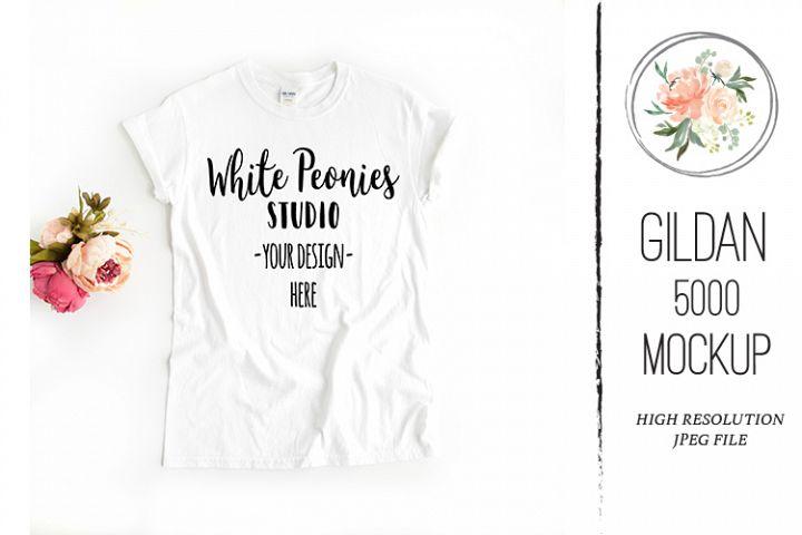 White GILDAN 5000 Shirt Mockup with flowers