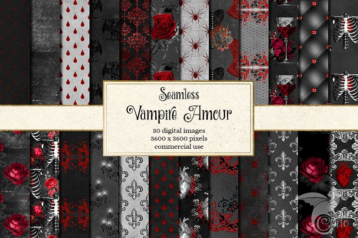 Vampire Amour Digital Paper and Clipart