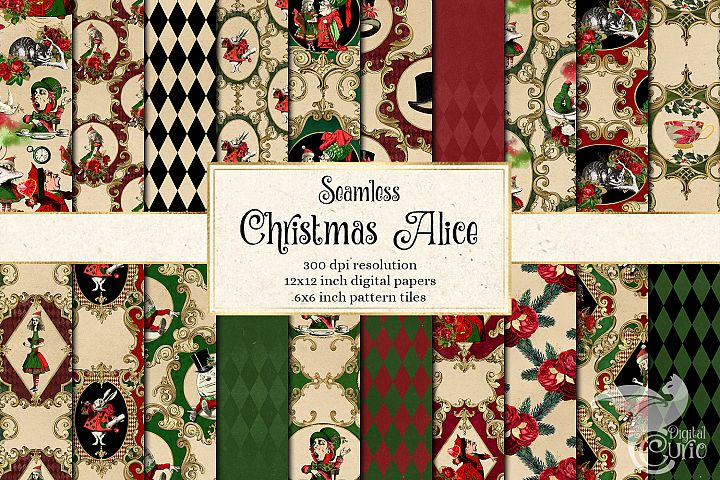 Christmas Alice In Wonderland Digital Paper
