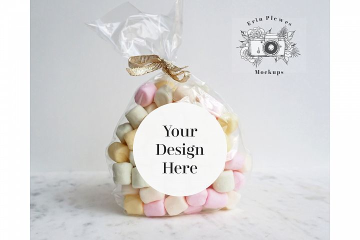 Sticker Mockup - Round Label Mock-up Wedding Gift Bag JPEG