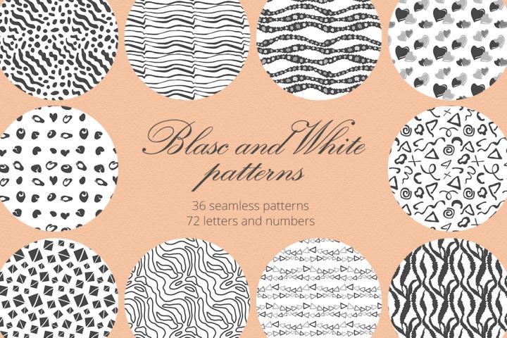 Blasc and White Patterns Set