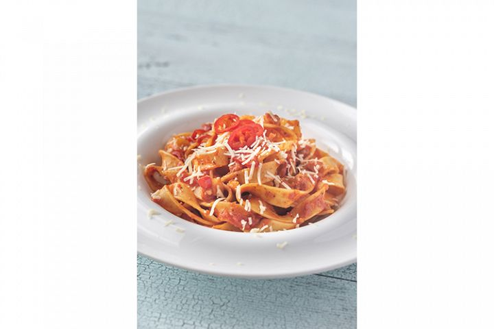 Portion of Amatriciana pasta