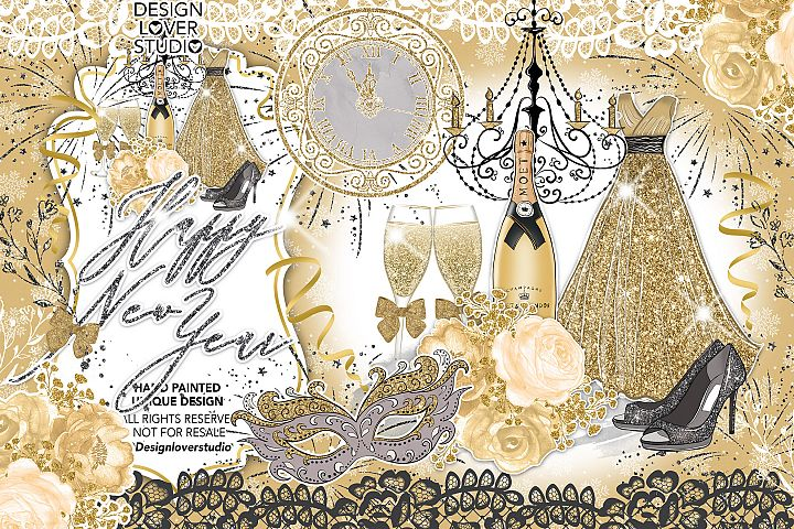 Happy New Year Gold design