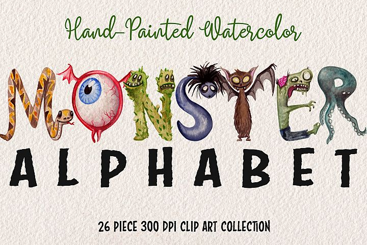 Watercolor Monster Alphabet