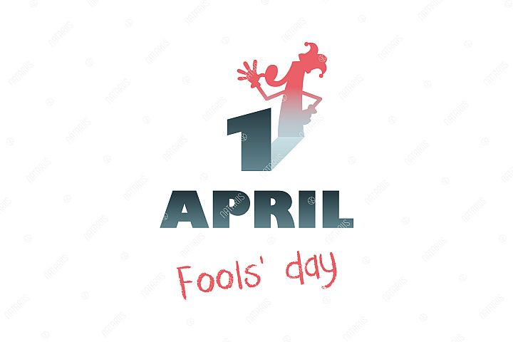 April 1st. Fools Day. Funny illustration.