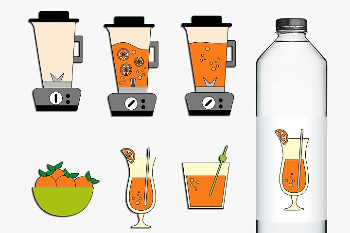 Blender and Orange Juice Clip Art Illustrations