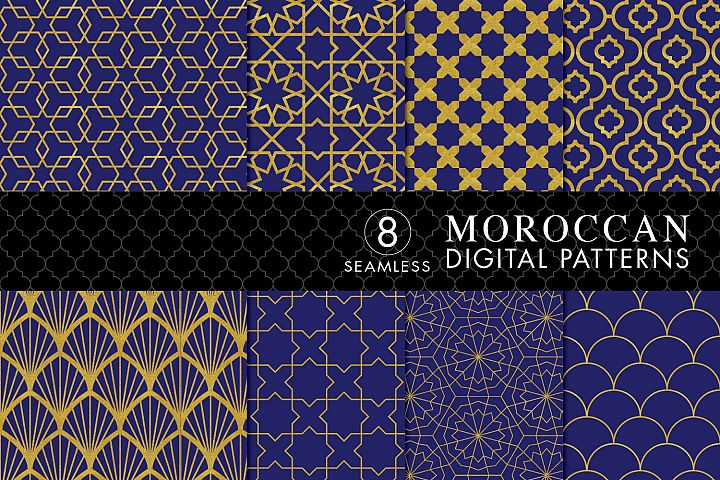 8 Seamless Moroccan Patterns - Gold & Cobalt Blue Set 1