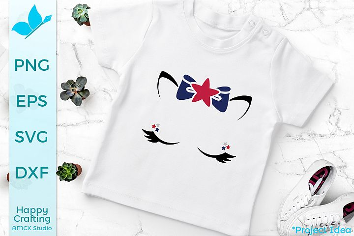 Cute American Girl - A 4th Of July Face SVG