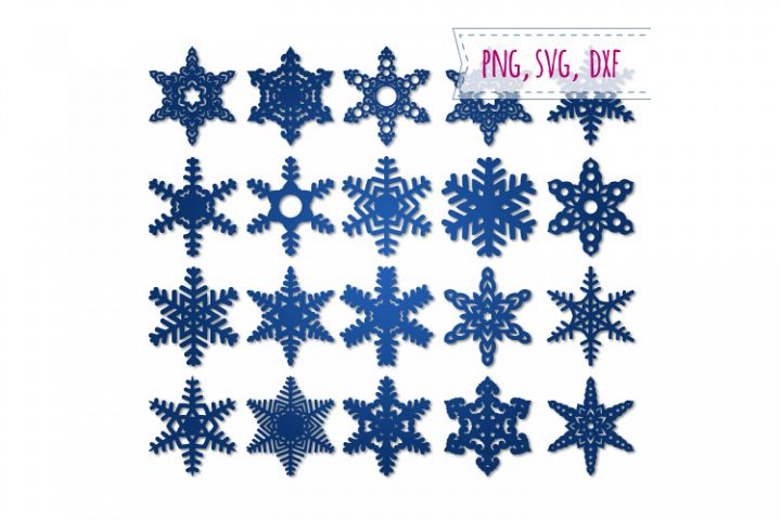 20 snowflakes svg. Winter decor digital stamps