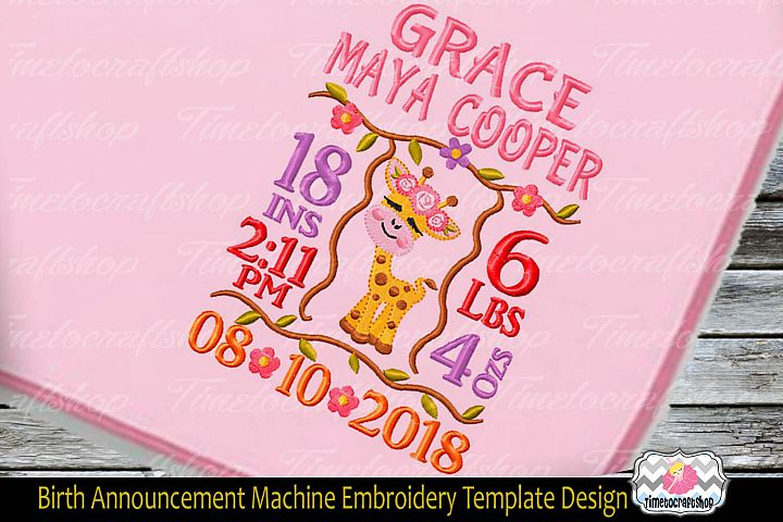 3 sizes Baby Born Announcement Embroidery Template