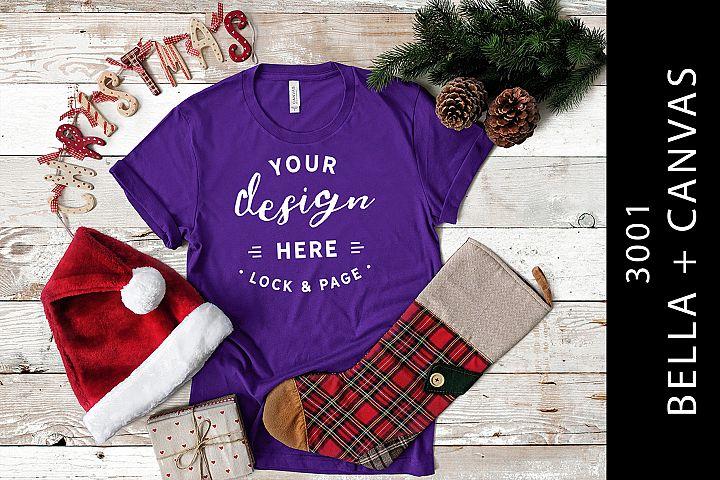 Team Purple T Shirt Mockup Christmas Edition Bella Canvas