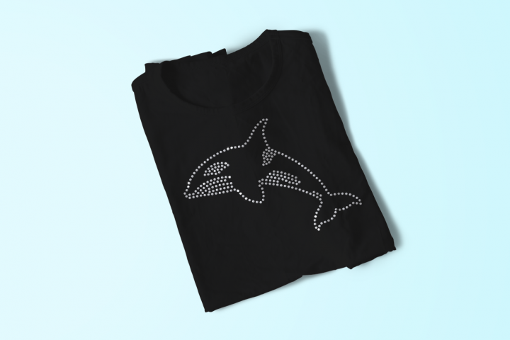 Rhinestone Killer Whale SVG File Template