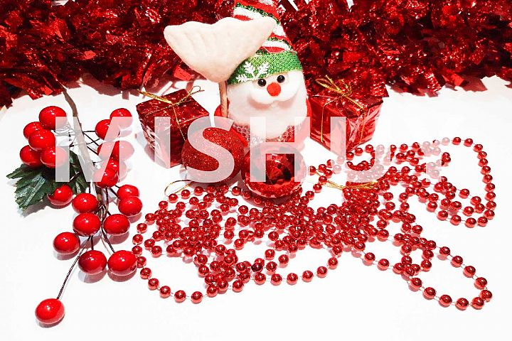 Red Christmas Ornaments Background2