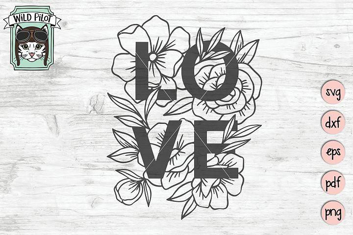 Love SVG file, Love cut file, Flowers, Floral