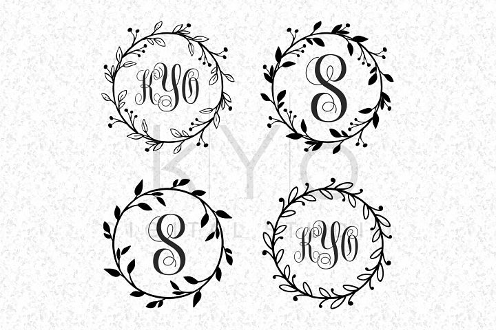 Floral Wreath Monogram Frame SVG PNG DXF EPS files