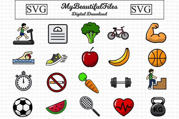 Health Fitness SVG Bundle - 20 Fitness Icons Illustrations