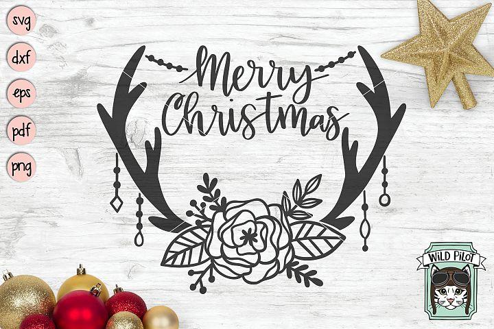 Merry Christmas Antlers svg file, Boho christmas, Rustic