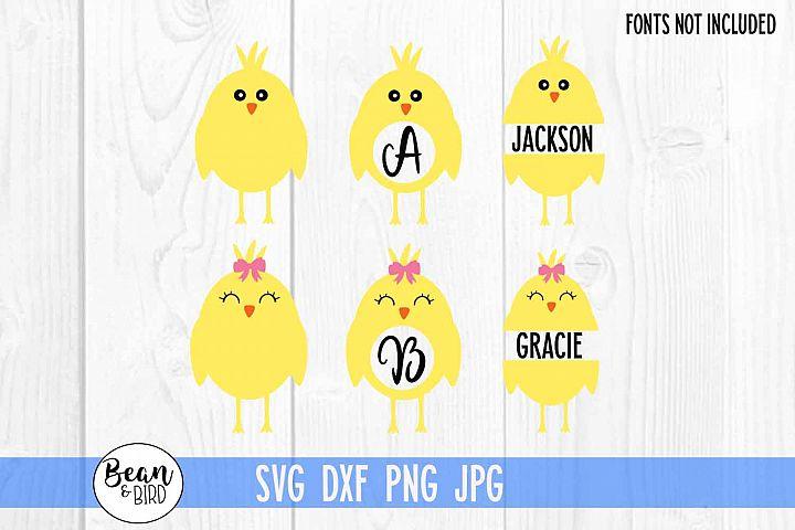 Easter Chicks Monograms Split Name SVG example image 2
