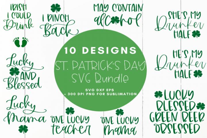 St. Patricks Day Bundle 10 Designs SVG Design Cut Fi