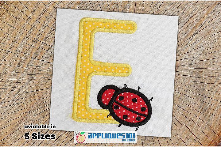Letter E Ladybug Machine Embroidery Applique Design- Letters
