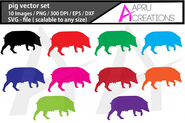 pig, pig silhouette, pig clipart, pig illustration, commercial use, pig SVG , EPS, DXF , PNG vector