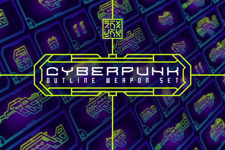 Cyberpunk Outline Weapon Set