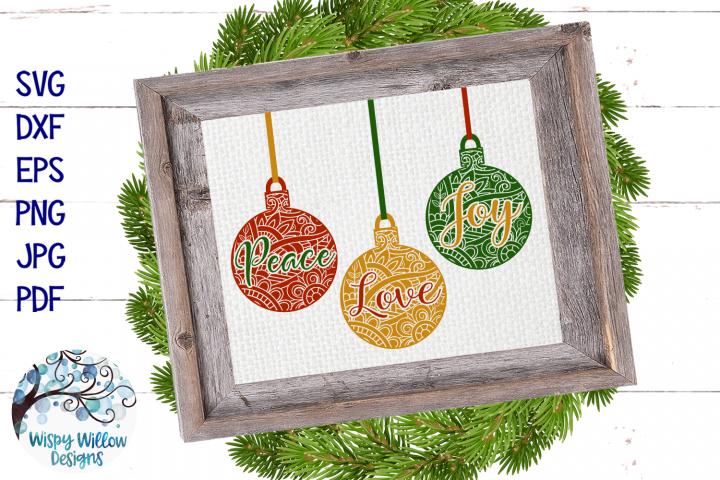 Peace Love Joy Mandala SVG | Christmas Ornament SVG Bundle