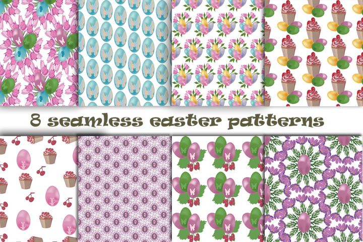 Easter pattern. Seamless pattern with Easter motifs.