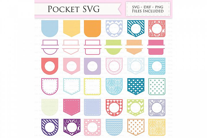 Shirt Pocket SVG Files - Decorative Pocket monogram svg