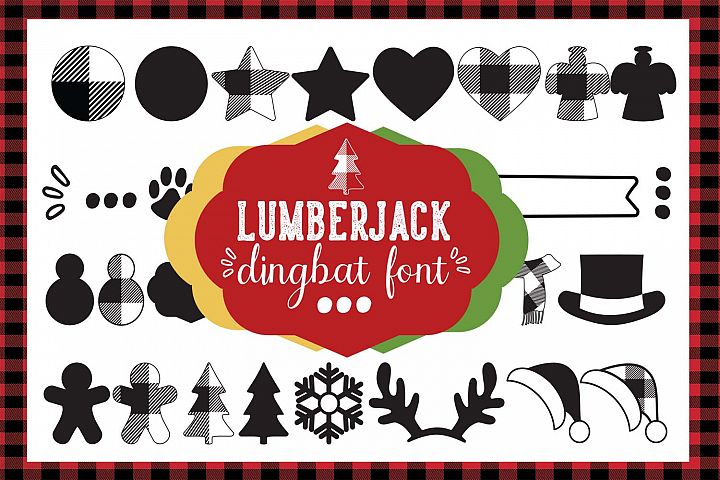 Lumberjack dingbat font, Combinable Christmas elements