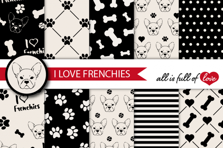 I Love Frenchies Digital Paper French Bulldog Background Patterns in Black and Cream