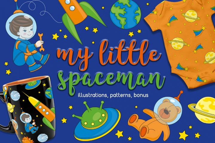 LITTLE SPACEMAN Vector Illustration Seamless Pattern Set