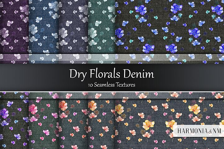 Dry Florals Denim 10 Seamless Textures