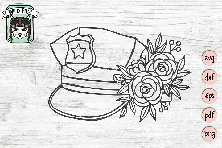 Police Officer svg file, Policeman Wife, Floral, Flower