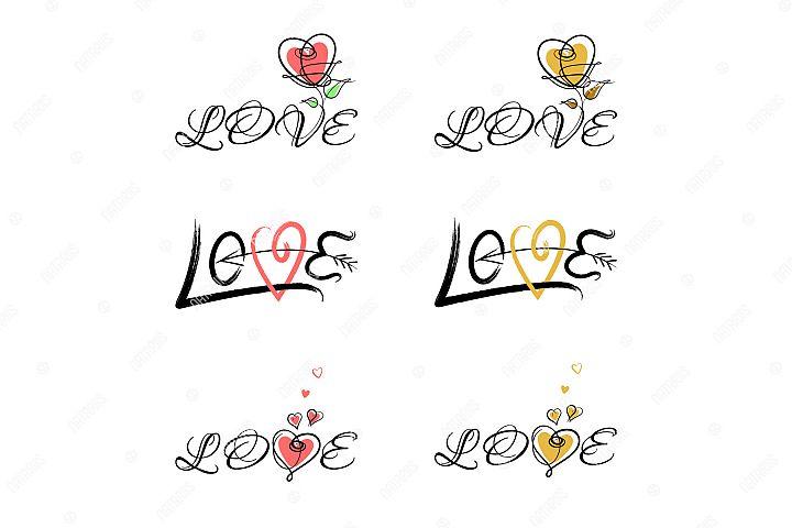 Love. Set of 6 Elegant Handwritten Inscriptions.