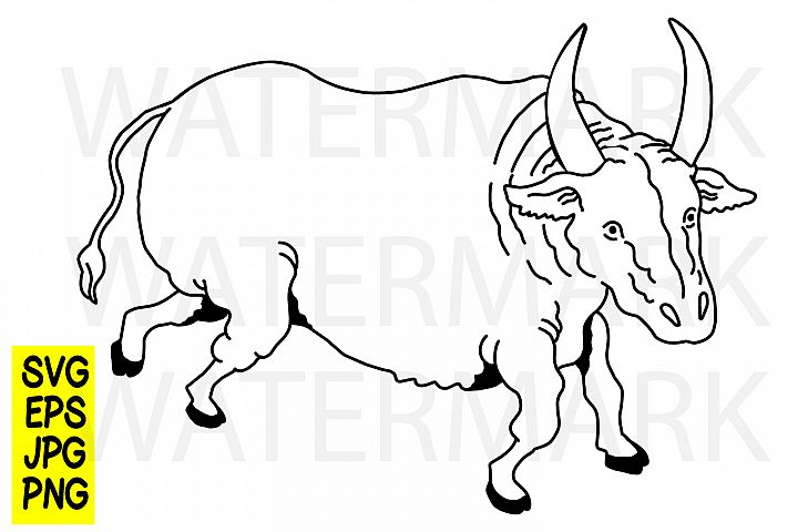 Japanese Style Cow - SVG/EPS/JPG/PNG