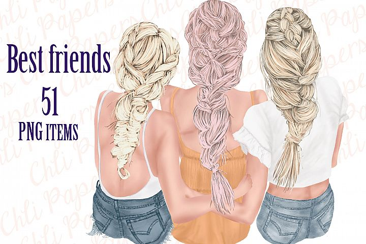 Best Friends Clipart,Besties clipart,Fashion Girls
