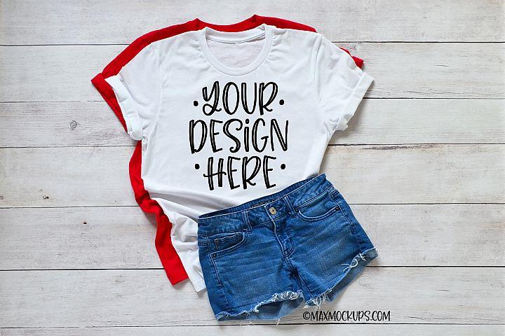 White t-shirt Mockup Bella Canvas, jean shorts and summer