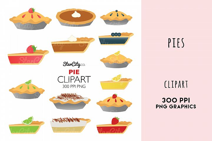 Pie Clipart Graphics, Pumpkin Pie, Lemon Meringne