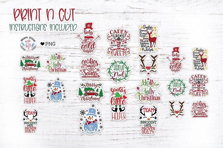 Cute Christmas Print n Cut Stickers