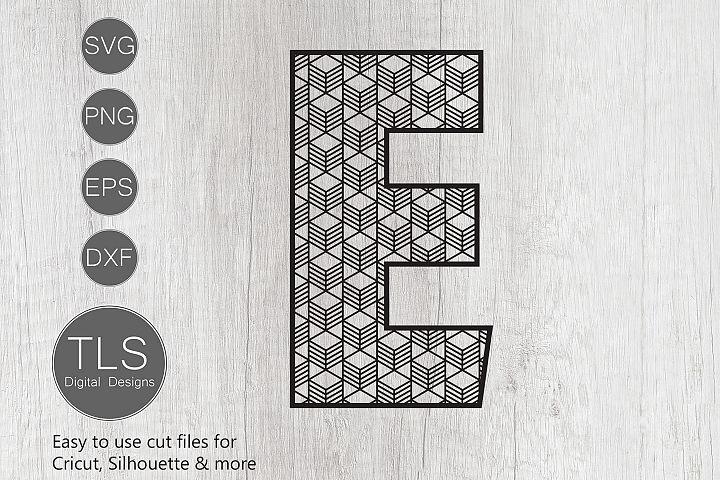 Geometric Pattern Letter E SVG, Letter E SVG Cut file