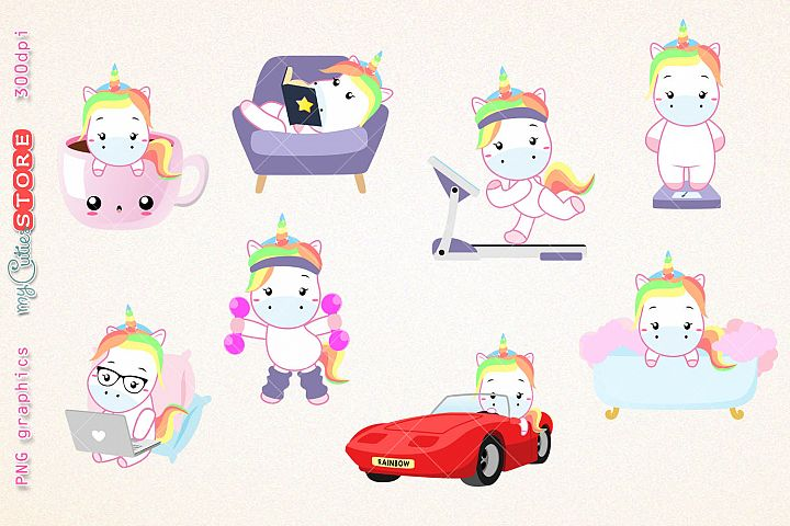 Kawaii unicorns clipart, PNG graphics collection, treadmill, coffee, bath time, reading, great for planner stickers or scraps.