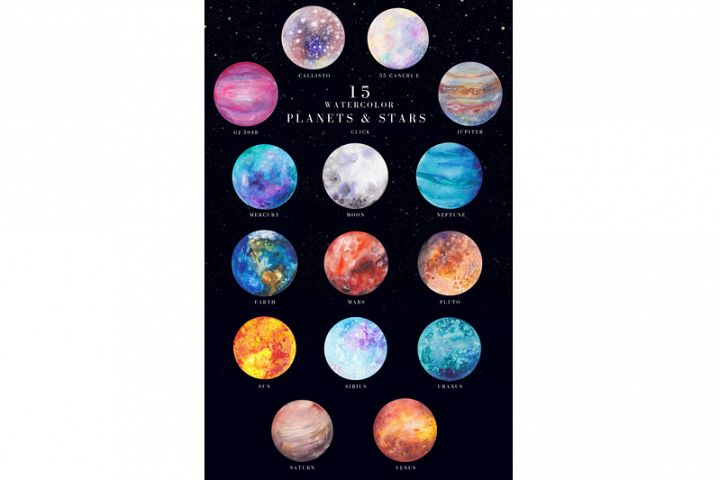 15 watercolor planets and stars set