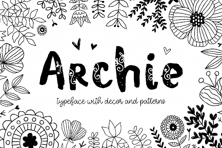 Archie typeface with Clipart