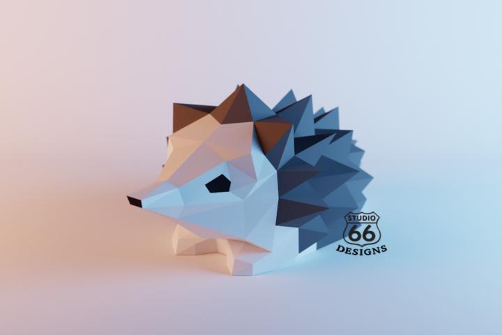 Hedgehog Papercraft, Papercraft Hedgehog Statue, Hedgehog